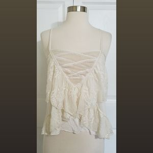 🤩50% OFF Free People Cream Tiered Lace Top Sz XS